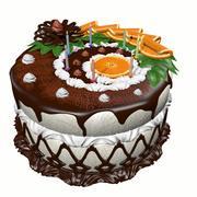 Torta di compleanno con le candele 3d model