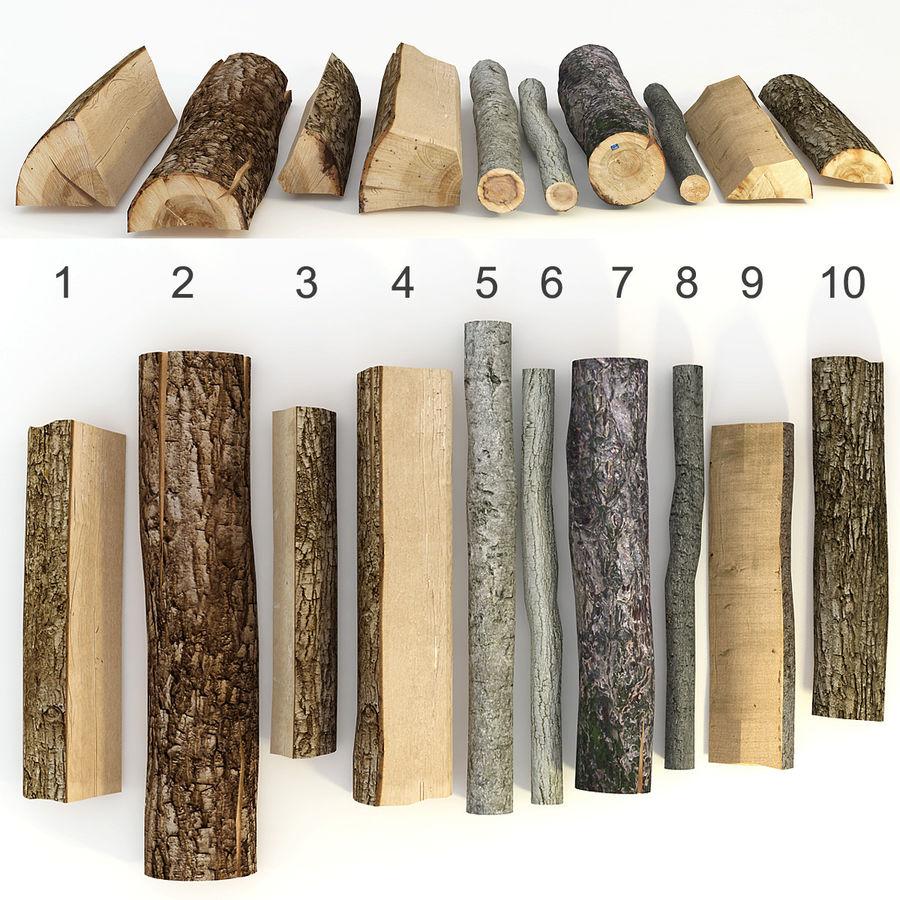 conjunto de toras de madeira royalty-free 3d model - Preview no. 1