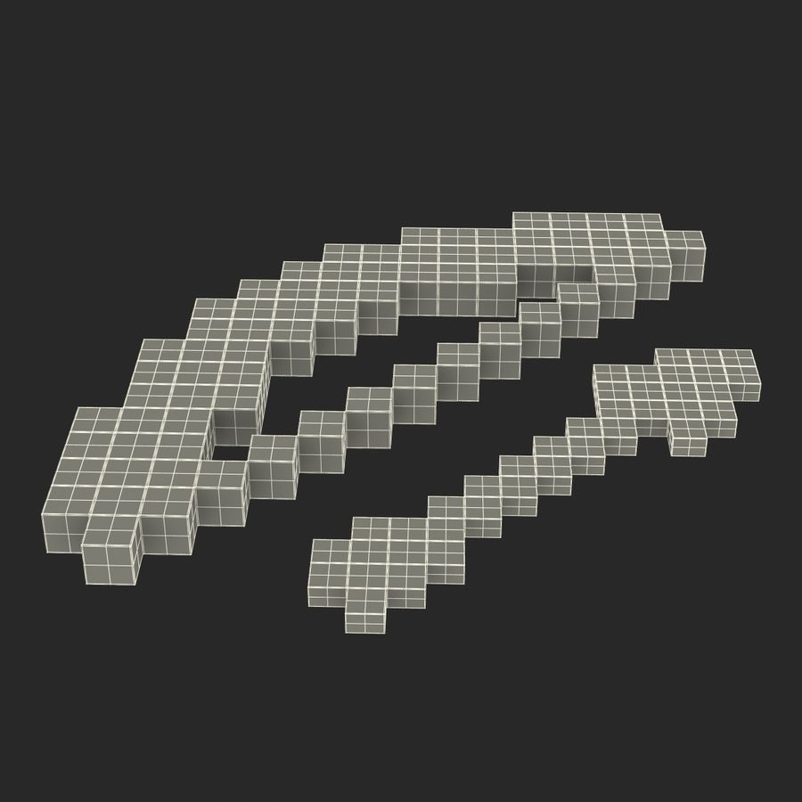 Minecraftの弓と矢 royalty-free 3d model - Preview no. 18