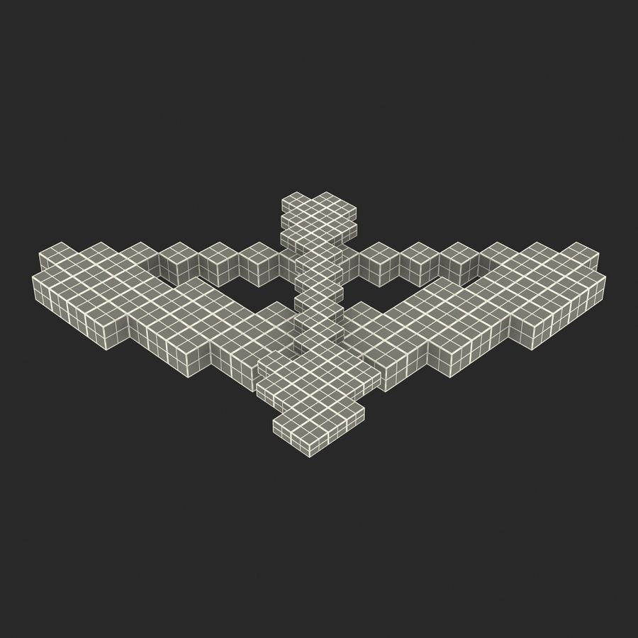 Minecraftの弓と矢 royalty-free 3d model - Preview no. 23