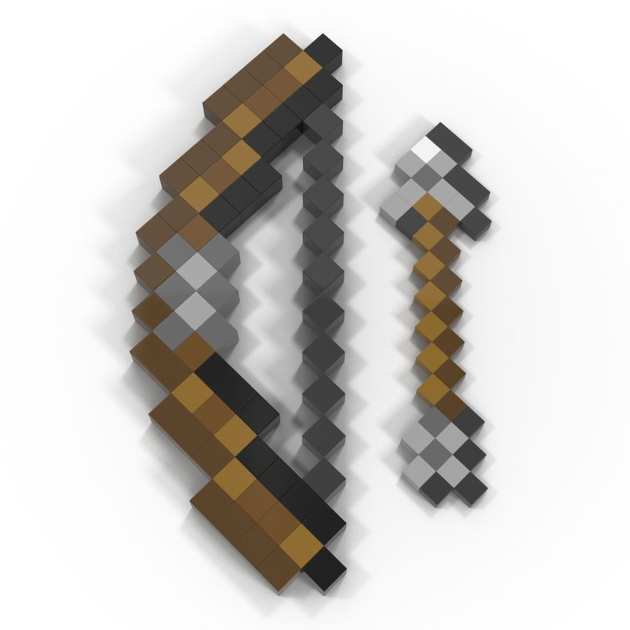 Minecraftの弓と矢 royalty-free 3d model - Preview no. 6
