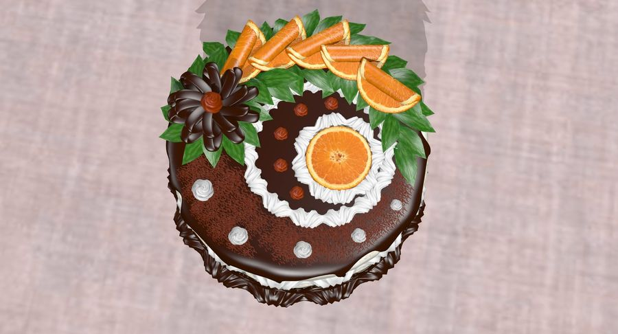 juicy cake(1) royalty-free 3d model - Preview no. 11