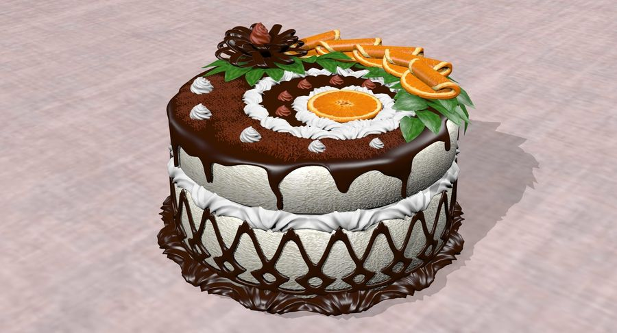 juicy cake(1) royalty-free 3d model - Preview no. 3