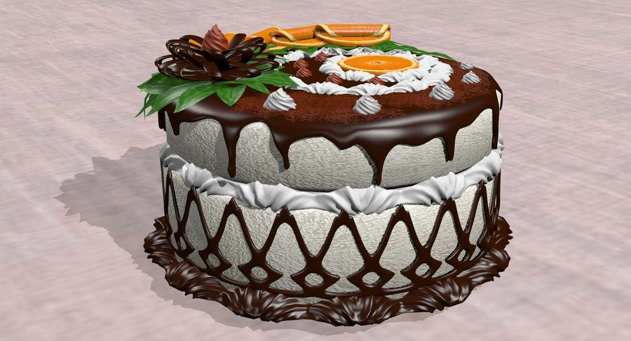 juicy cake(1) royalty-free 3d model - Preview no. 10