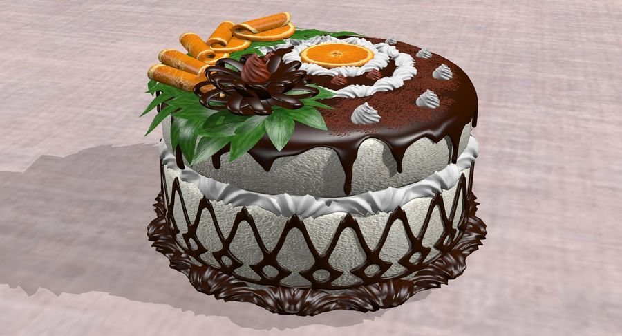 juicy cake(1) royalty-free 3d model - Preview no. 7