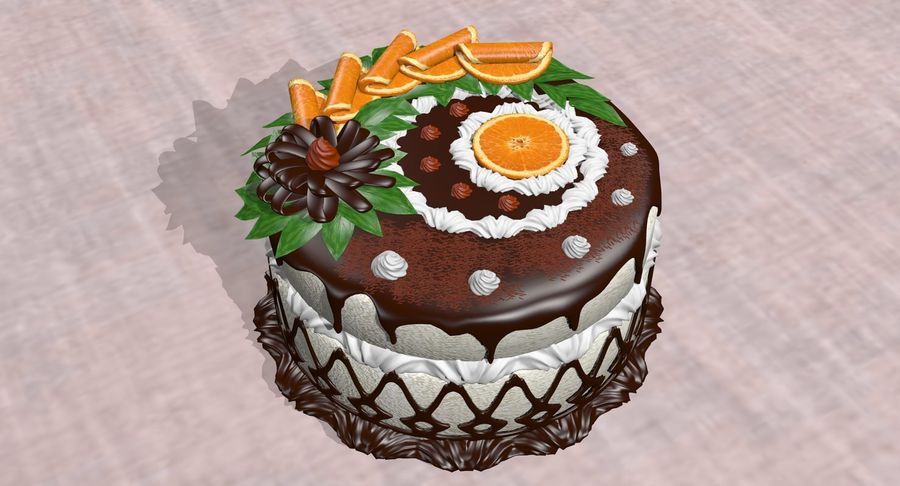 juicy cake(1) royalty-free 3d model - Preview no. 8