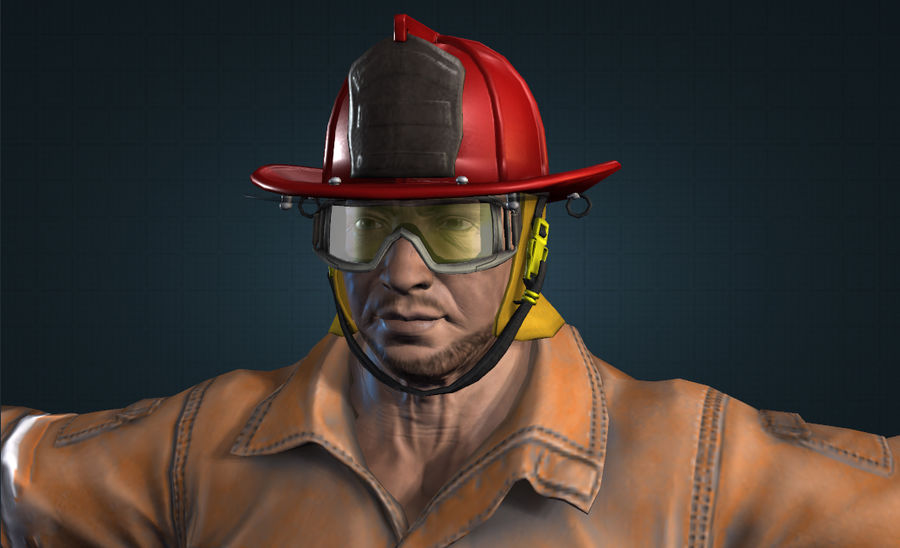 пожарный royalty-free 3d model - Preview no. 1