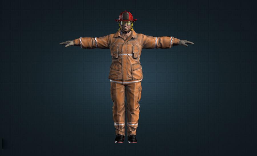 пожарный royalty-free 3d model - Preview no. 3