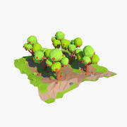 Cartoon apple orchard 3d model