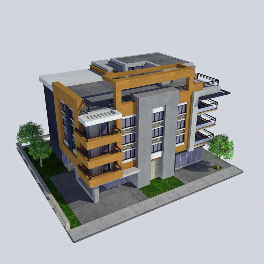 Modern Apartment City Building HD Cityscape Tile 5 Royalty Free 3d Model    Preview No