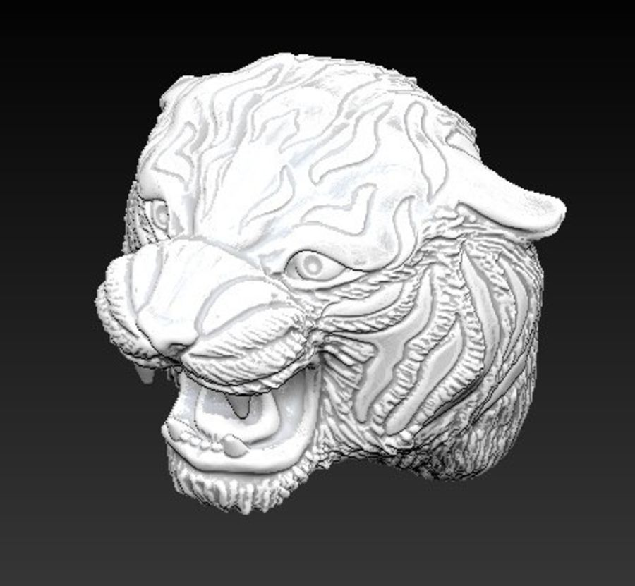 Angry Tiger Head 3D Model $13