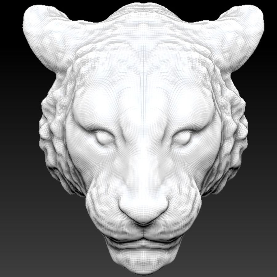 Siberian tiger head royalty-free 3d model - Preview no. 3