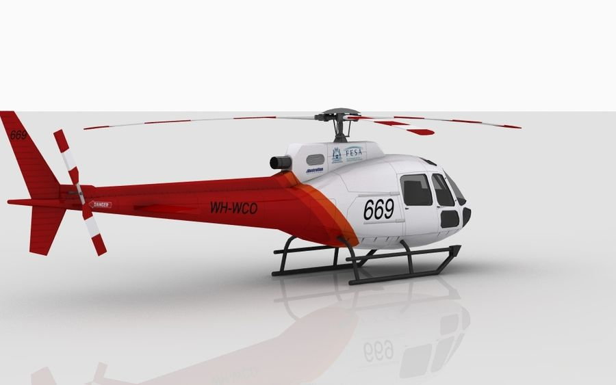 Eurocopter AS350 Skin 3 royalty-free 3d model - Preview no. 3