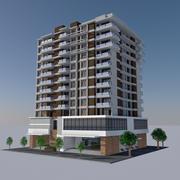 Modern Apartment City Building - HD Cityscape Tile 6 3d model