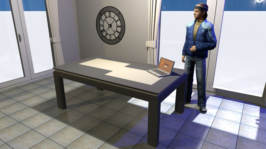 Extendable Modern Table royalty-free 3d model - Preview no. 12