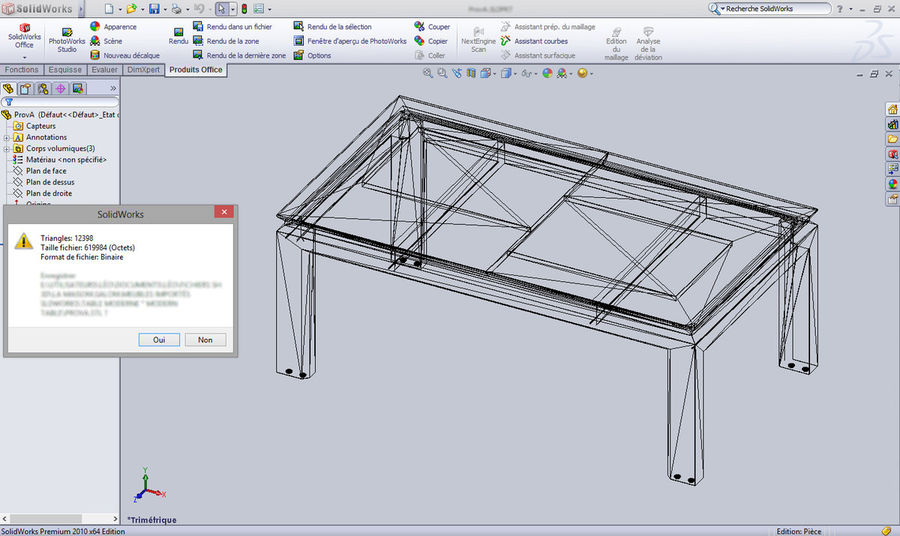 Extendable Modern Table royalty-free 3d model - Preview no. 11