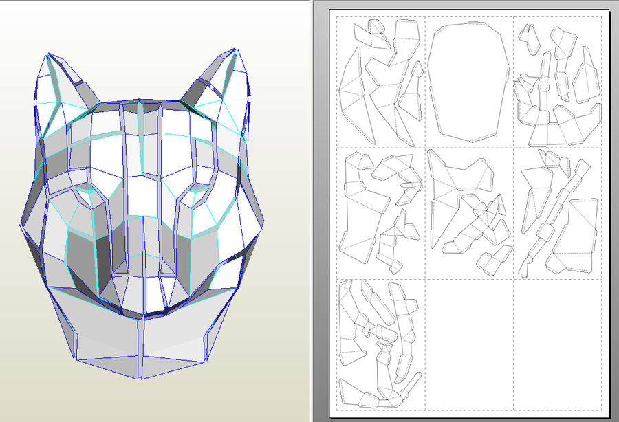 Wolf Papercraft royalty-free 3d model - Preview no. 8
