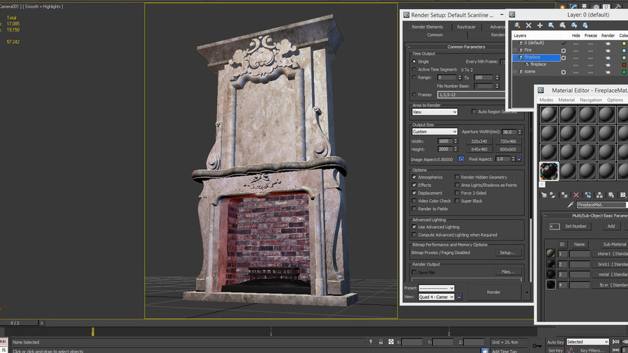 Stone Fireplace royalty-free 3d model - Preview no. 5