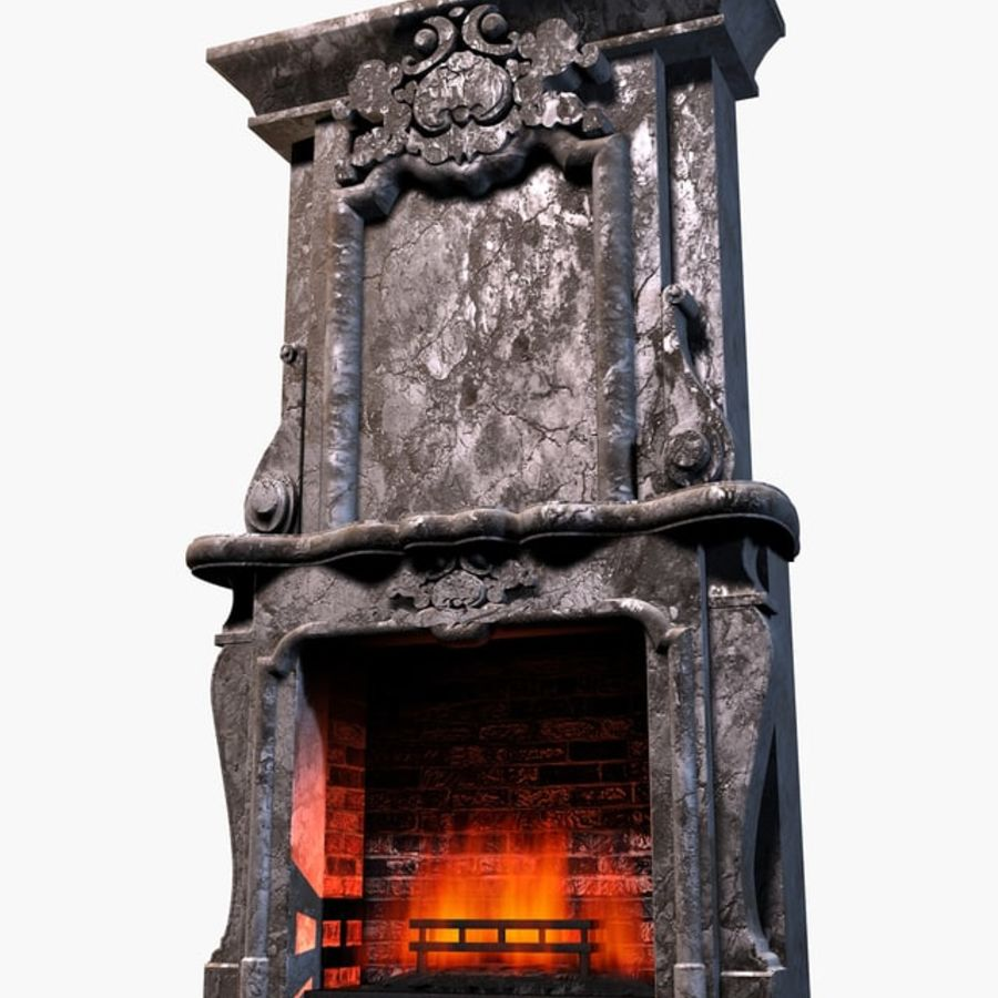 Stone Fireplace royalty-free 3d model - Preview no. 1