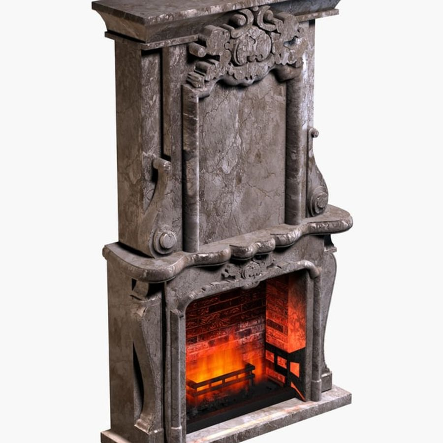 Stone Fireplace royalty-free 3d model - Preview no. 2