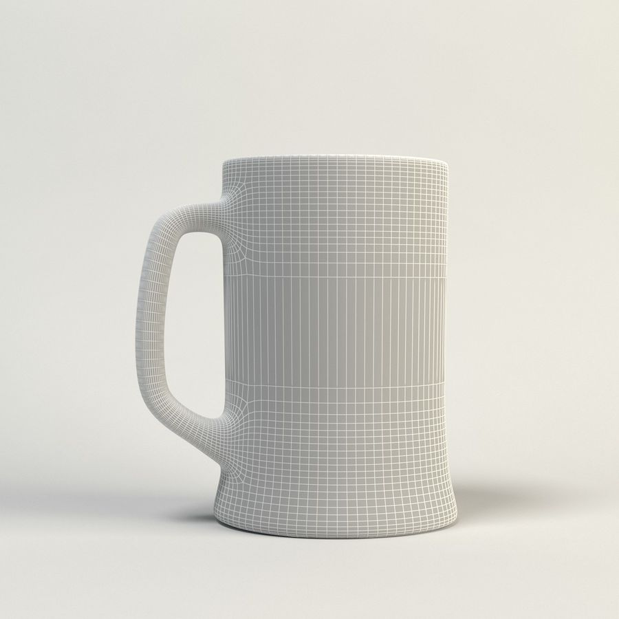 clear beer glass royalty-free 3d model - Preview no. 6