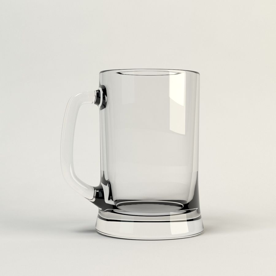 clear beer glass royalty-free 3d model - Preview no. 5