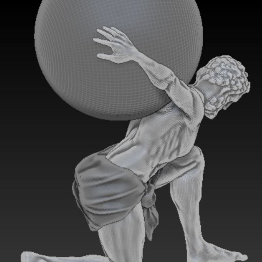 Atlas statue royalty-free 3d model - Preview no. 7