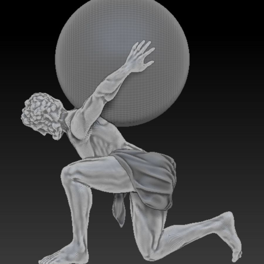 Atlas statue royalty-free 3d model - Preview no. 5