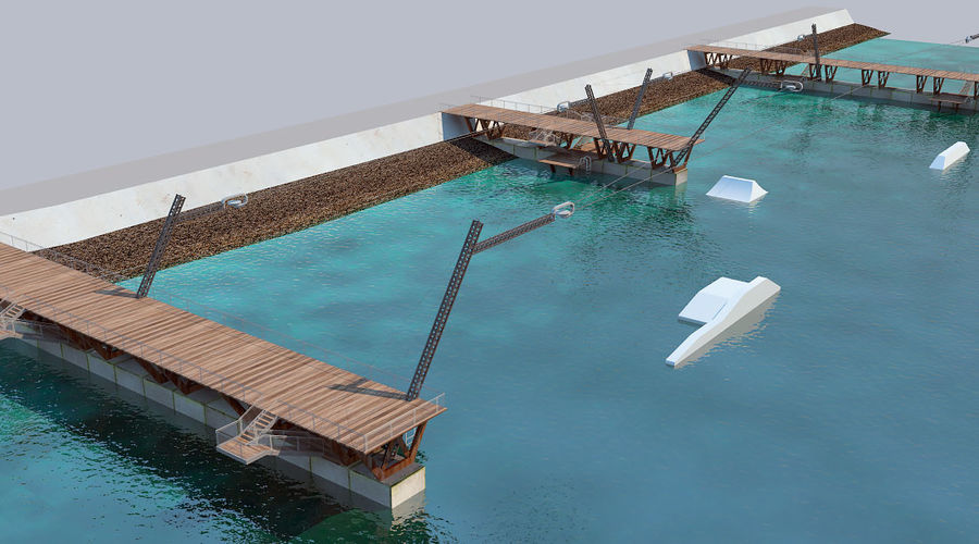 wakeboard station royalty-free 3d model - Preview no. 3