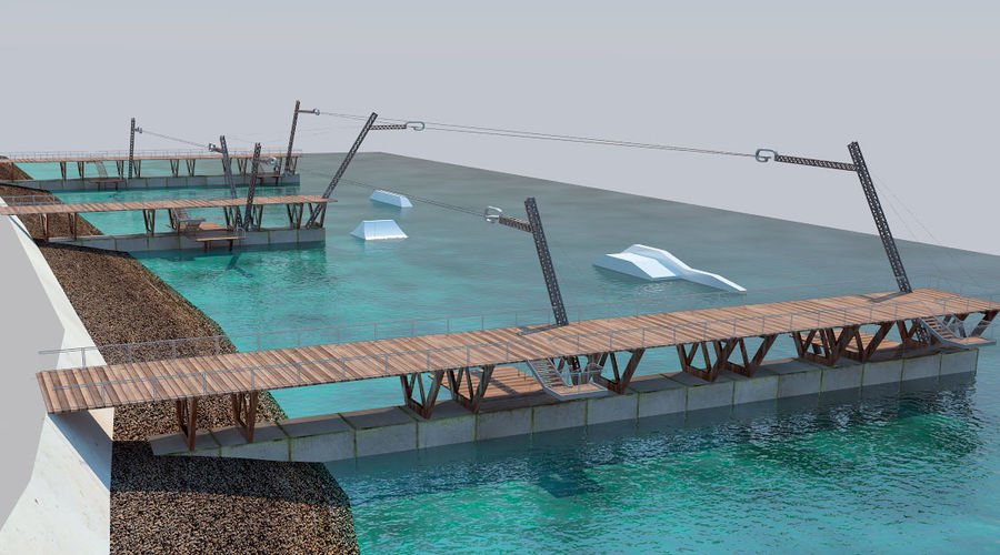 wakeboard station royalty-free 3d model - Preview no. 9