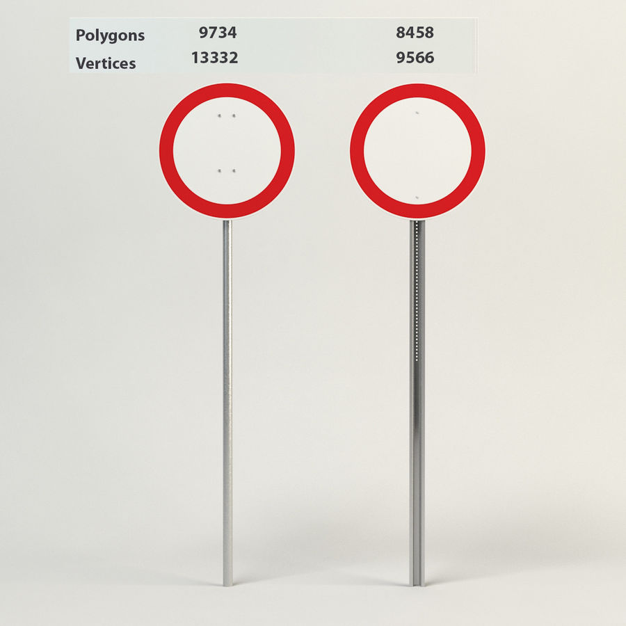no vehicles allowed signs royalty-free 3d model - Preview no. 1