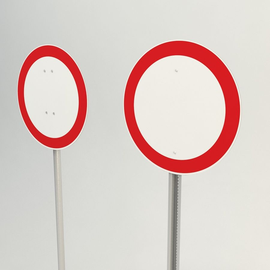 no vehicles allowed signs royalty-free 3d model - Preview no. 3