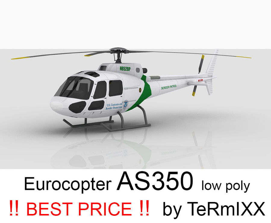 Eurocopter AS350 royalty-free 3d model - Preview no. 1