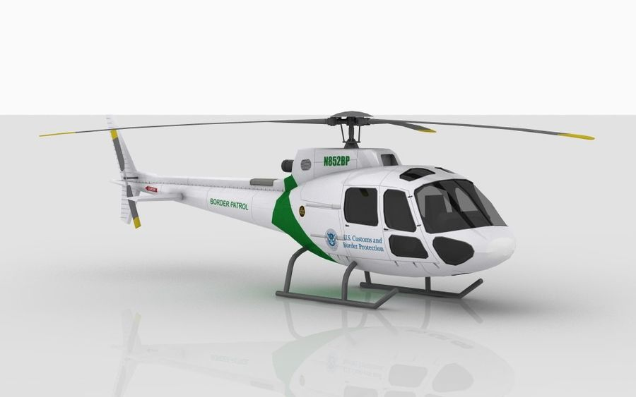Eurocopter AS350 royalty-free 3d model - Preview no. 3