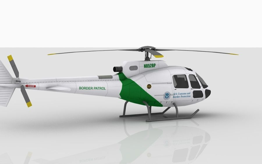 Eurocopter AS350 royalty-free 3d model - Preview no. 4