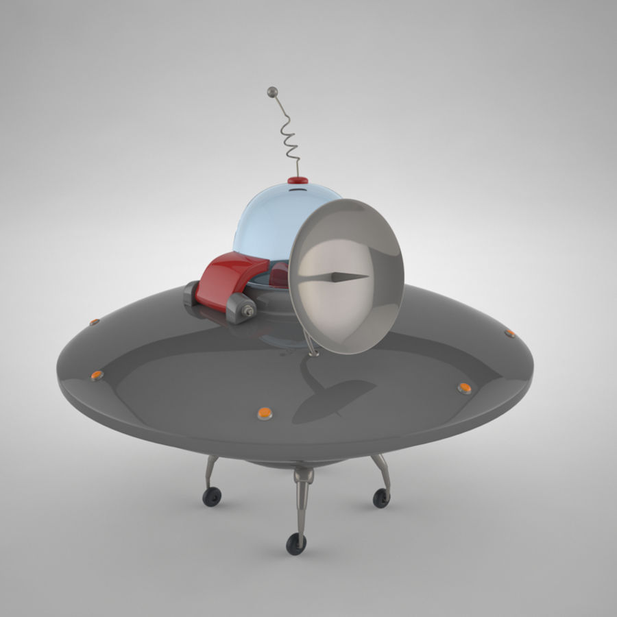 Cartoon Flying Saucer royalty-free 3d model - Preview no. 2
