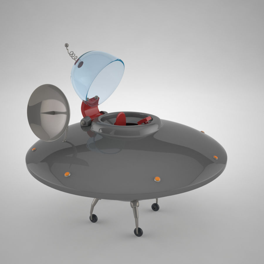 Cartoon Flying Saucer royalty-free 3d model - Preview no. 12