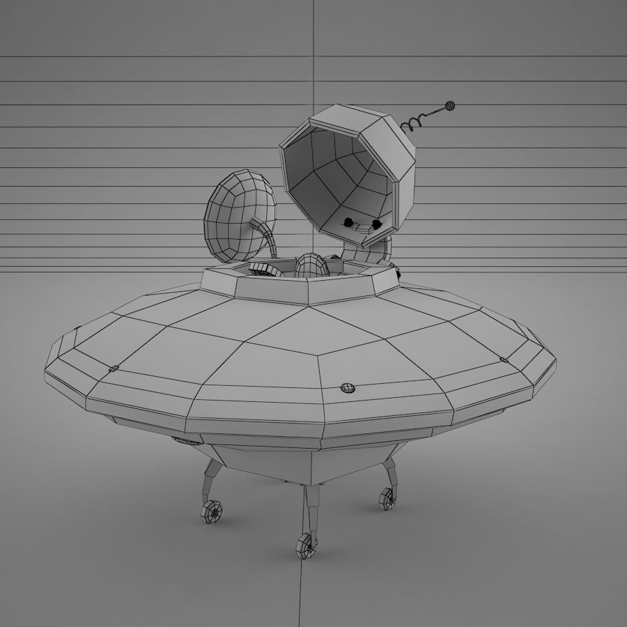 Cartoon Flying Saucer royalty-free 3d model - Preview no. 20