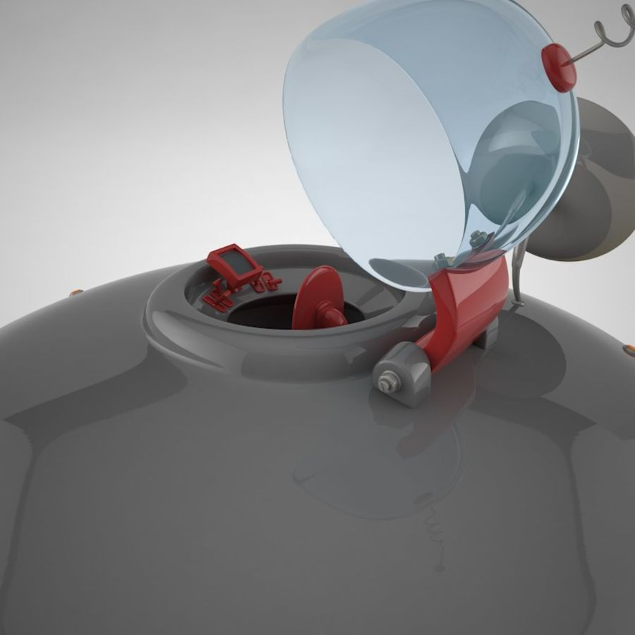 Cartoon Flying Saucer royalty-free 3d model - Preview no. 15