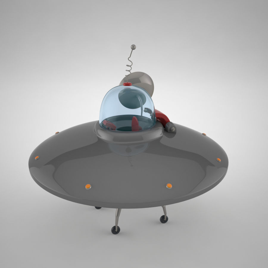 Cartoon Flying Saucer royalty-free 3d model - Preview no. 3