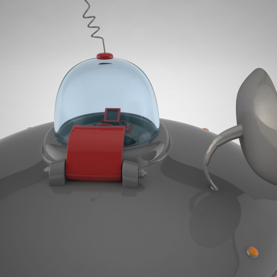 Cartoon Flying Saucer royalty-free 3d model - Preview no. 4