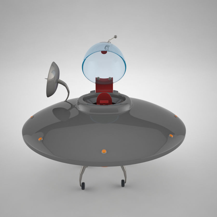 Cartoon Flying Saucer royalty-free 3d model - Preview no. 13