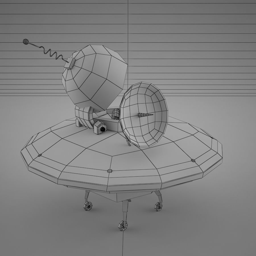 Cartoon Flying Saucer royalty-free 3d model - Preview no. 22