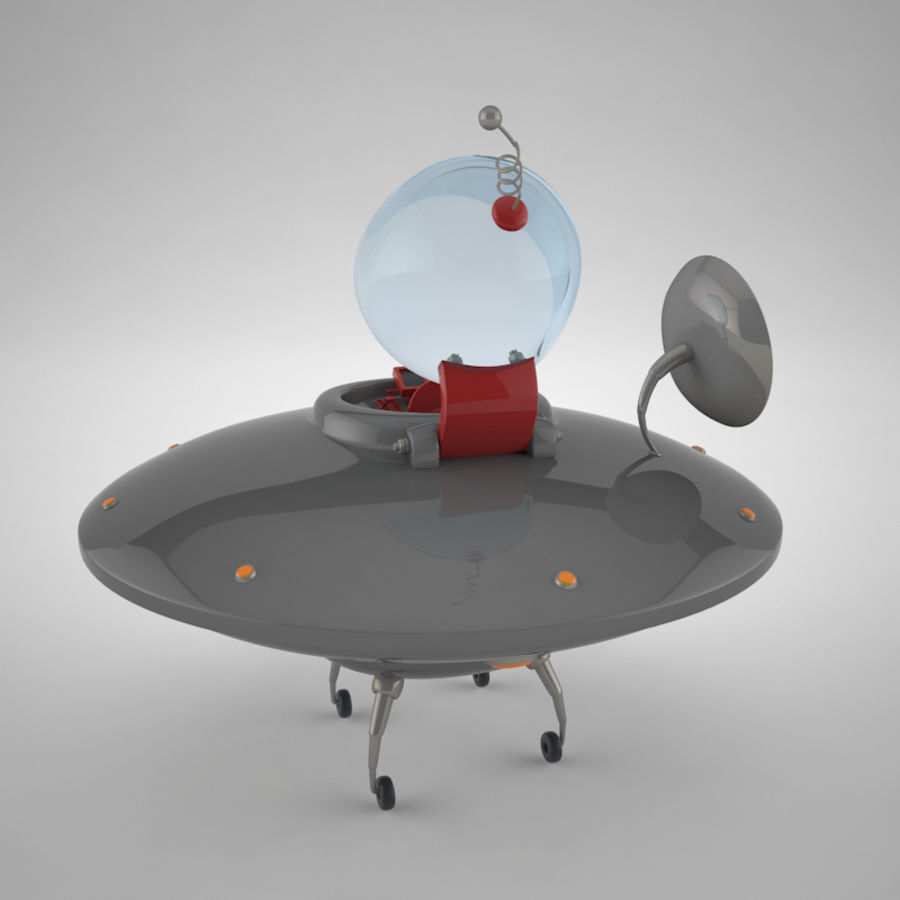 Cartoon Flying Saucer royalty-free 3d model - Preview no. 10