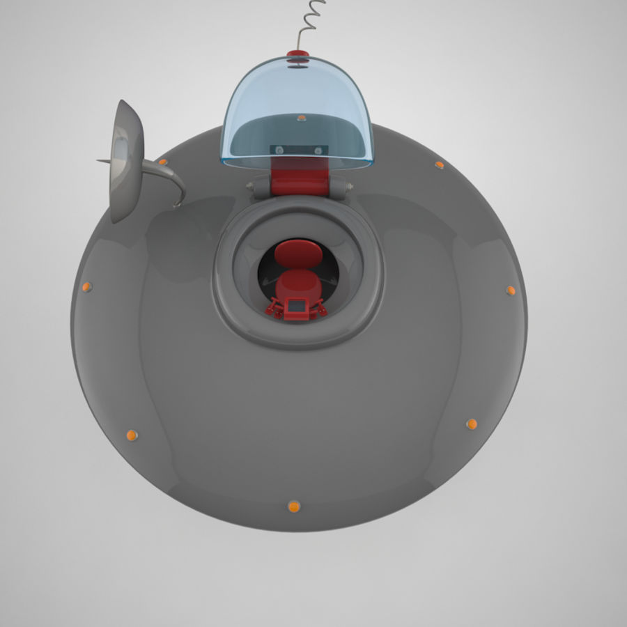 Cartoon Flying Saucer royalty-free 3d model - Preview no. 18