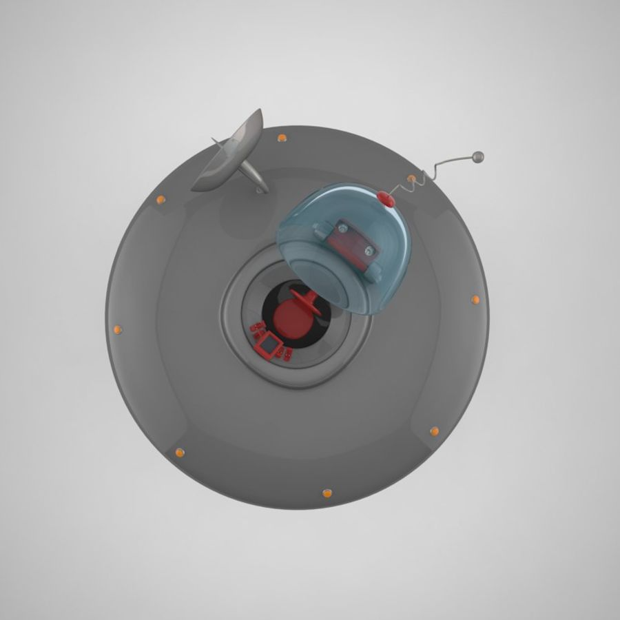Cartoon Flying Saucer royalty-free 3d model - Preview no. 19