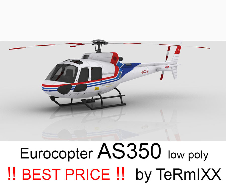 Eurocopter AS350 Skin 1 royalty-free 3d model - Preview no. 1