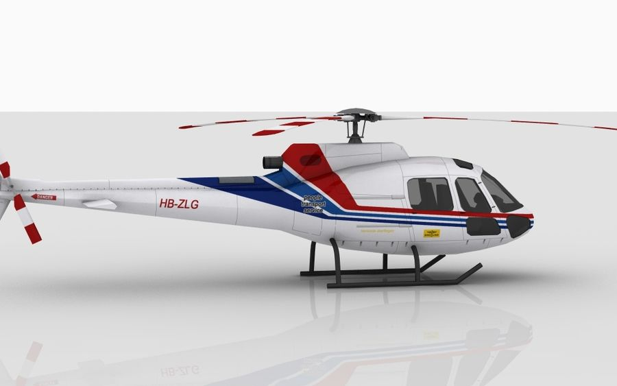 Eurocopter AS350 Skin 1 royalty-free 3d model - Preview no. 3