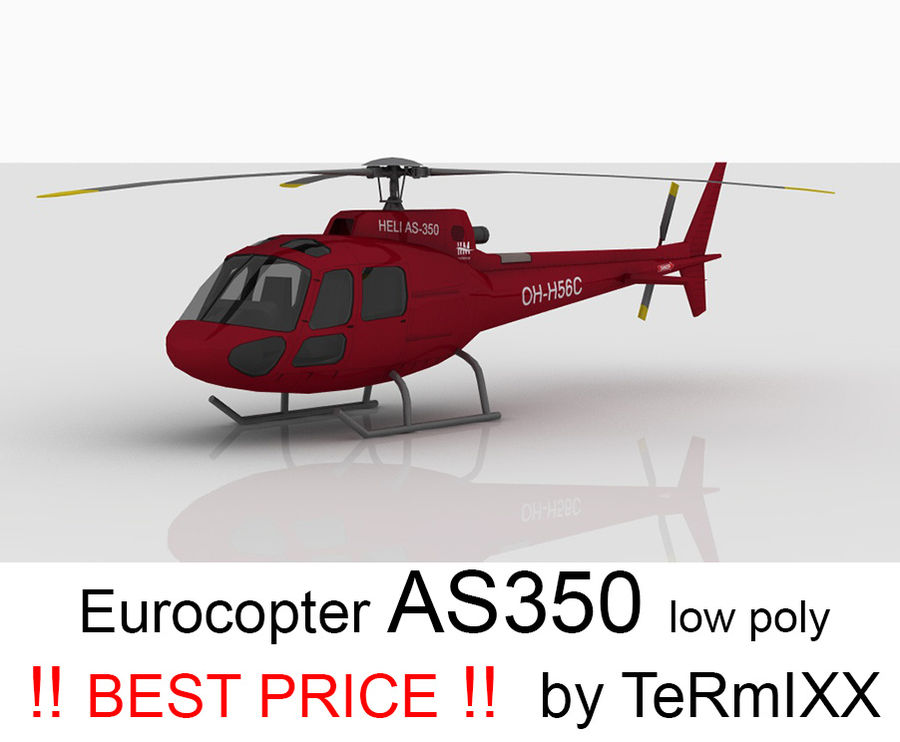 Eurocopter AS350 RED royalty-free 3d model - Preview no. 1
