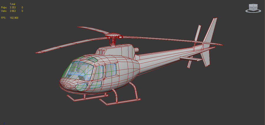 Eurocopter AS350 RED royalty-free 3d model - Preview no. 5